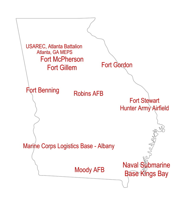 Georgia Map showing Military Installations locations