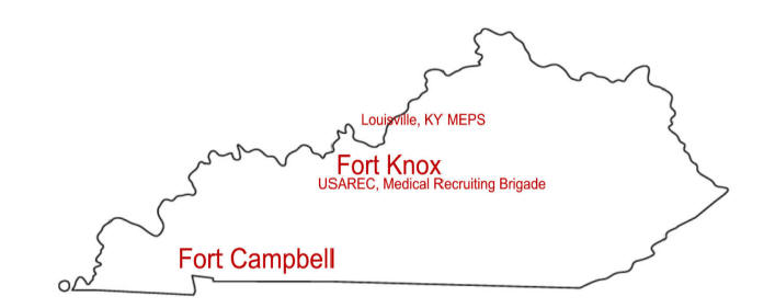 Kentucky Map showing Military Installions in KY