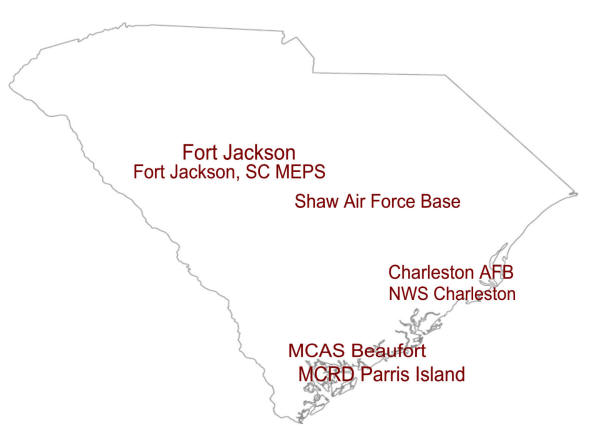 South Carolina map showing Military Installations